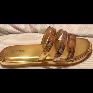 Michael Kors Women's Keiko Metallic Slides